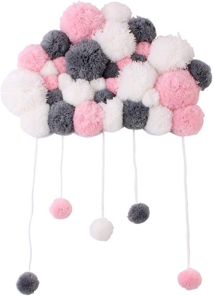 Pinji - Preciosa Nube Colgante con Borlas para Pared Decoración de Juguetes Peluche Adornos Decoración de Cuna Cama Habitación para Bebé Niños Color mezclado