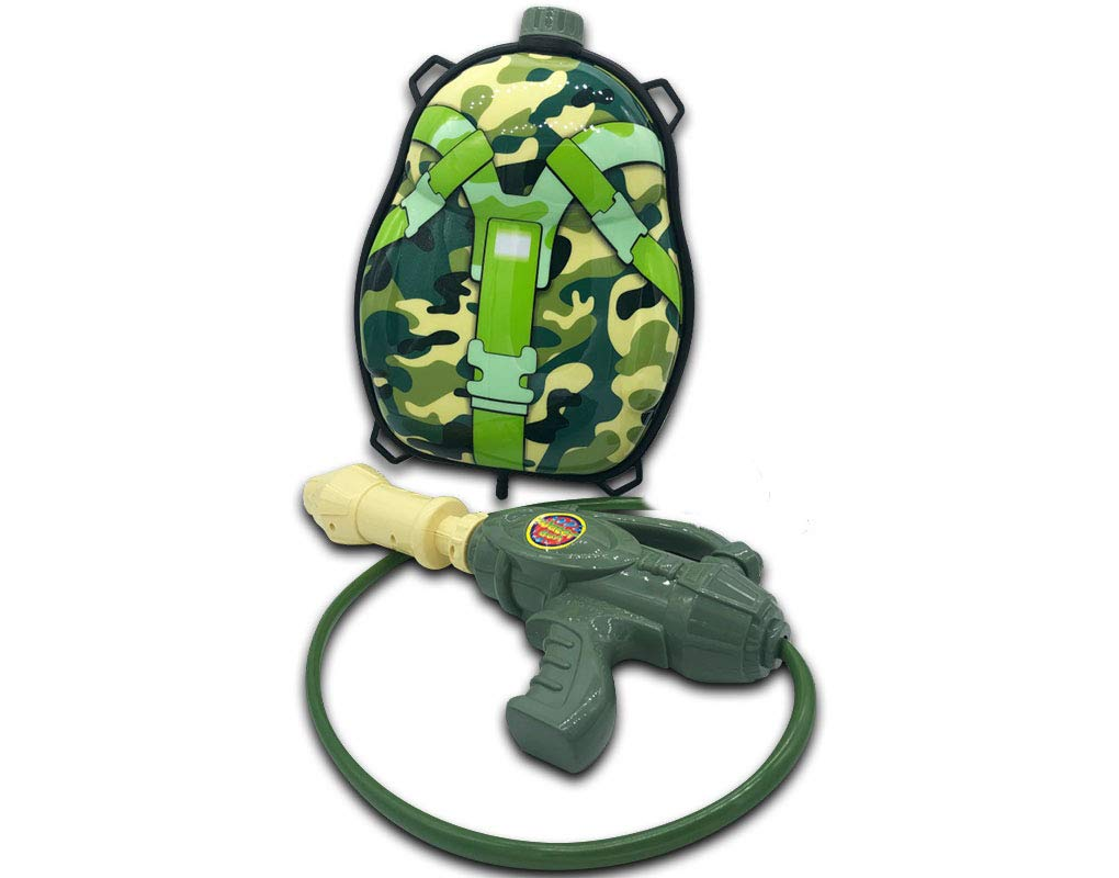 Hoovy Backpack Super Soaker Water Gun | Squirts up to 30 ft. | Larger Fill Tanks for Unlimited Outdoor Summer Fun | Big Toy Water Cannon Blasters for Kids & Adults | Army Camo Watergun Design