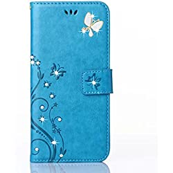 HAOTP(TM) Beauty Luxury 3D Fashion Handmade Bling Crystal Rhinestone Butterfly Fashion Floral PU Flip Stand Credit Card ID Holders Wallet Leather Case Cover for Samsung Galaxy S6 Edge (Bling/Blue)