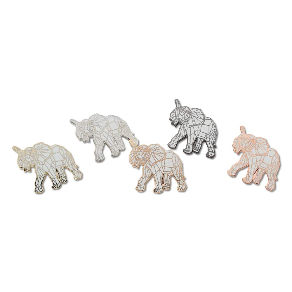 WIZARDPINS Origami Elephant White Geometric Pattern Value Lapel Pin Pack– 5 Pins
