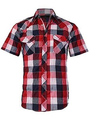 LW Men's Western Cowboy Pearl Snap Short Sleeve Rodeo Dress Shirt LW126S