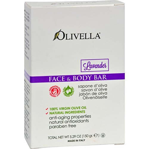 Olivella Face and Body Bar Soap Lavender - Anti Aging Properties - Natural Ingredients - 5.29 oz (Pack of 4)