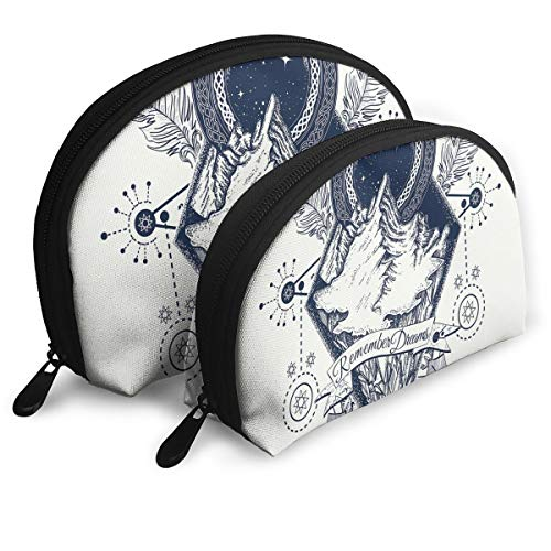 Shell Shape Makeup Bag Set Portable Purse Travel Cosmetic Pouch,Mountains In Boho Tattoo Style With Crossed Arrows And Astrological Symbols,Women Toiletry Clutch