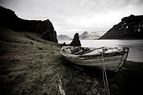 Boat on land by the shore, Iceland 30x40 photo reprint by PickYourImage