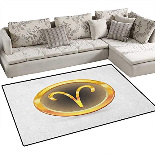 - Zodiac Aries,Carpet,Vibrant Yellow Round with Astrological Sign Inside Modern Symbol,Non Slip Rugs,Yellow Cocoa and Black Size:36