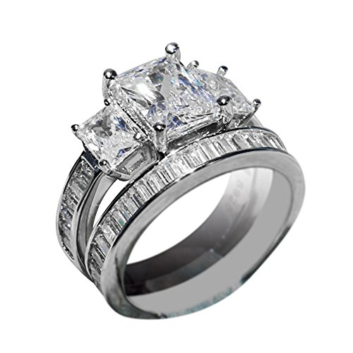Bride Ring, Kimloog 2Pcs 3 Stone Silver Crystal Engagement Wedding Band (Silver,8)