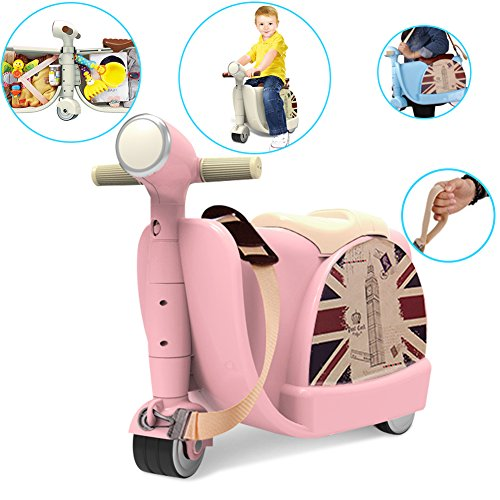 GOWIN Luggage Kick Scooter Toy,3-in-1 Scootcase Ride-on Storage Case Seat Learning Walker Rollator Travel Toy Case for Kids & ()