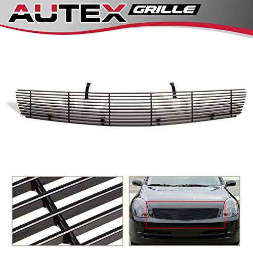 (AUTEX N85600H Black Aluminum Horizontal Upper Billet Grille Insert Compatible With Infiniti G35 2003 2004 Sedan Grill Insert)