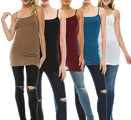 Nolabel [WT363 Multi Color 5 Pack Women's Basic Active Long Length Adjustable Spaghetti Strap Cami Tank Top 5P [BMU/BK/DBG/WH/TE] S ()