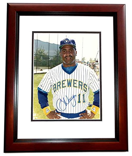 Greg Vaughn Signed - Autographed Milwaukee Brewers 8x10 inch Photo MAHOGANY CUSTOM FRAME