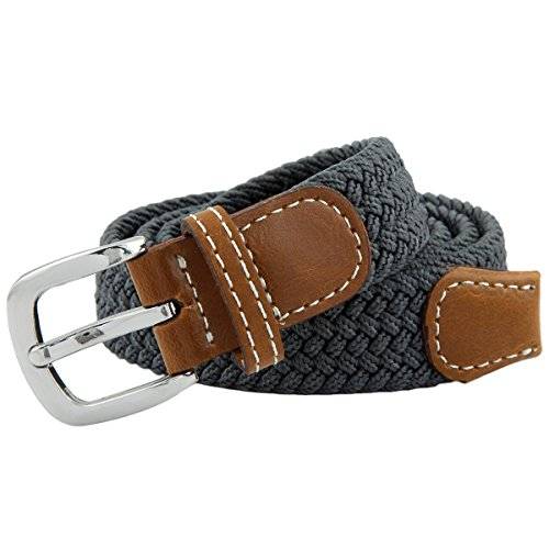 Moonsix Braided Stretch Belts for Women,PU Leather Elastic Fabric Woven Webbing Belt,Deep Grey