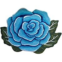 YOUSA Blue Rose Shaped Rug Anti-slip Mat Handmde Rug 31.523.6