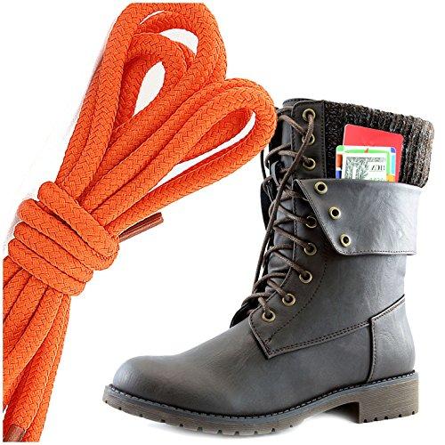 Dailyshoes Donna Militare Allacciatura Fibbia Stivali Da Combattimento Caviglia Metà Polpaccio Ripiegabile Tasca Per Carte Di Credito, Arancione Marrone Pu