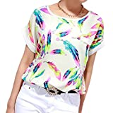 Perman Women Feather Print Chiffon Blouse Top Casual Short Sleeve Loose T-Shirt