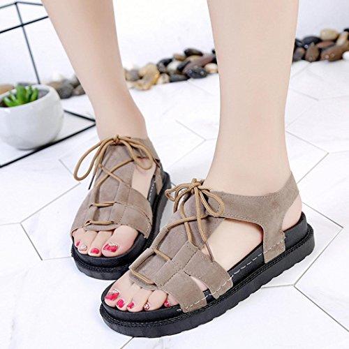 Voberry Sandalen Sommer Frauen Mode Wildleder Einfarbig Peep Toe Cross Gebunden Flache Schuhe