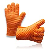 Heat Resistant Silicone BBQ Grill Oven Gloves and Barbecue Mitts for Cooking, Baking, Smoking & Potholder - Excellent Heat Protection (Orange)