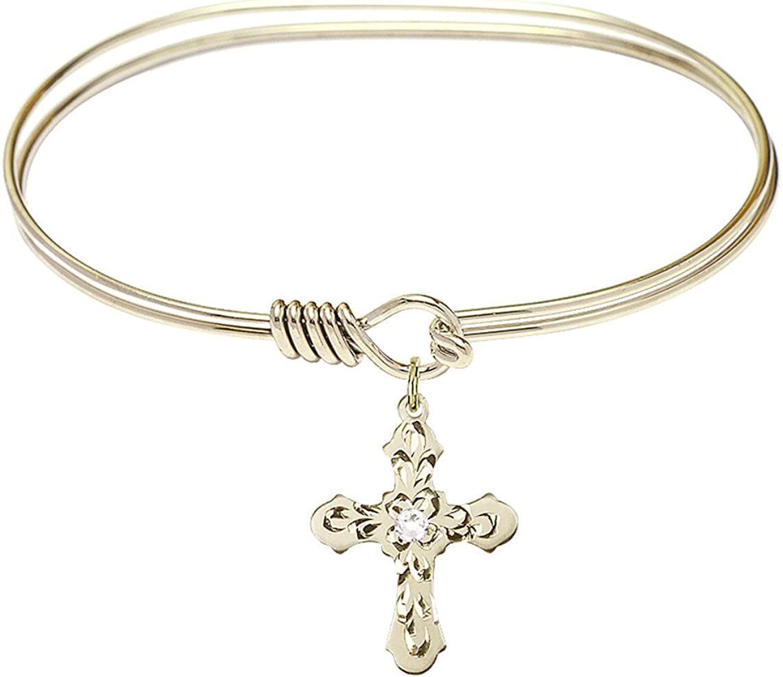 Catholic Saint Medals Cross Charm On A 7 Inch Oval Eye Hook Bangle Bracelet