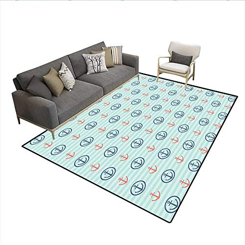 iday Adventure Horizontal Striped Backdrop with Icons Bon Voyage,1428D Printing Area Rug,Seafoam Blue Coral 6'6