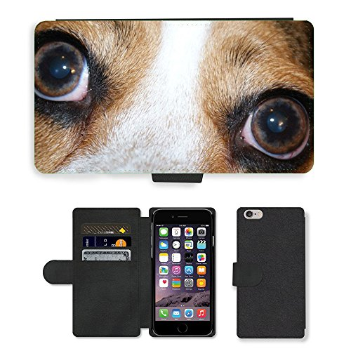 Just Phone Cases PU Leather Flip Custodia Protettiva Case Cover per // M00128614 Yeux de chien rapproché Regardant Look // Apple iPhone 6 PLUS 5.5""