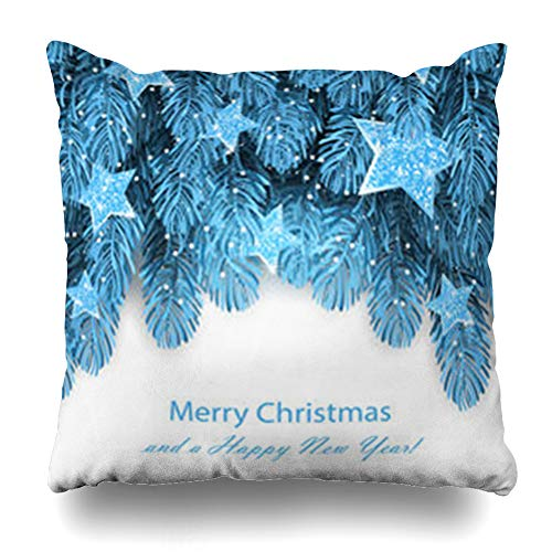 AileenREE Throw Pillow Covers Merry Green Abstract Blue Fir Tree Christmas Snow Holidays Border Branch Bright Celebration December Pillowcase Square Size 16 x 16 Inches Home Decor Cushion Cases -
