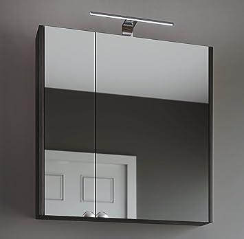 Planetmöbel Spiegelschrank Badezimmer WC Badezimmerschrank 64cm breit  (Anthrazit)