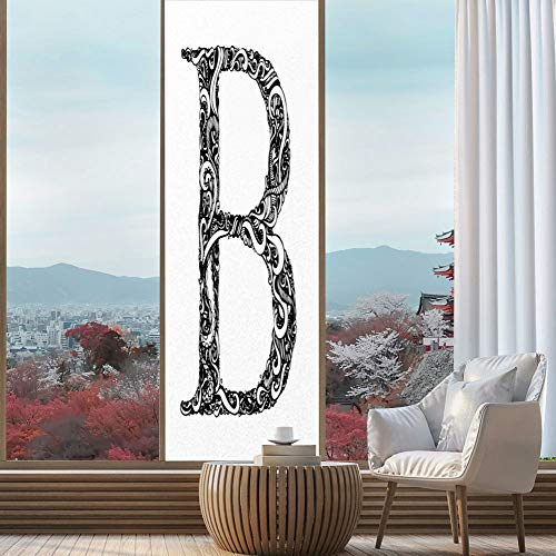 YOLIYANA Privacy Window Film Decorative,Letter B,for Glass Non-Adhesive,Black and White Abstract Swirls Classic Design Alphabet,24''x78''