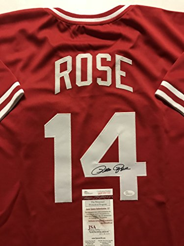 Autographed/Signed Pete Rose Cincinnati Reds Red Baseball Jersey JSA COA Cincinnati Reds Autographed Baseball