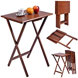 COSTWAY Set of 4 Portable Wood TV Table Folding Tray Desk Serving Furniture (Color Walnut)