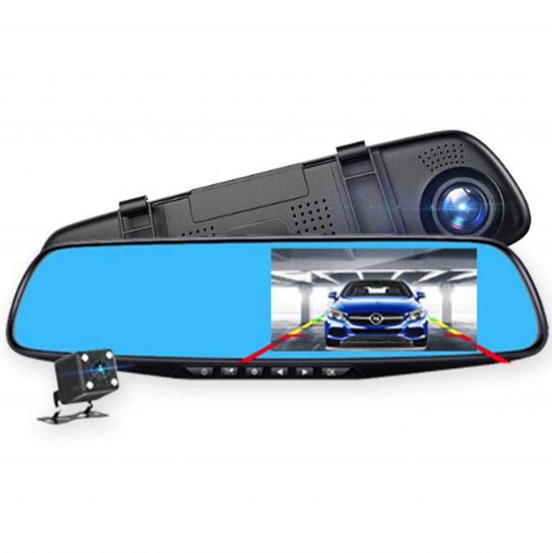 SUPKEY Backup Camera 4.3'' Mirror Dash Cam Touch Screen 1080P Rearview Front and Rear Dual Lens with Waterproof Reversing Camera