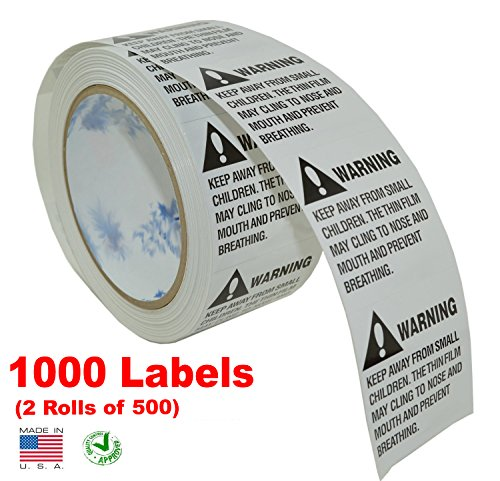 iMBAPrice® Suffocation Warning Labels (Made in USA) 1000 Labels (2 Rolls of 500) Peel & Stick Instruction Labels - KEEP AWAY FROM SMALL CHILDREN, FBA Approved (2' 500 Label)