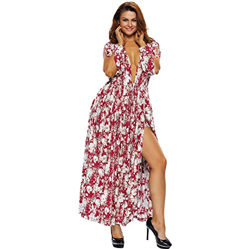 [BYY Cranberry White Floral Print Maxi Romper Dress(Size,M)] (Fancy Dress Beginning With F)