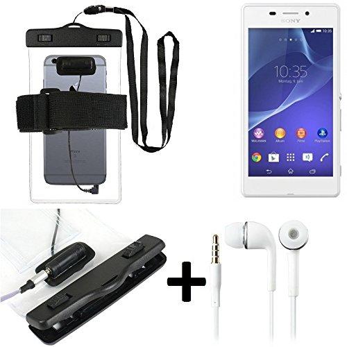 Estuche estanco al agua con entrada de auriculares para Sony Xperia M2 Aqua + auricular incluido, transparente | Trotar bolsa de playa al aire libre caja brazalete del teléfono caso de cáscara bajo pl