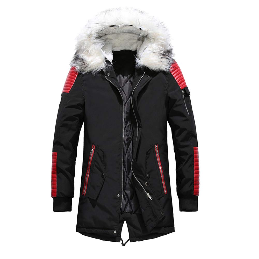 kingfansion Men's Hooded Thick Cotton Puffer Jacket Winter Quilted Parka Coat Fur