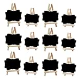 12 PACK Mini Framed Blackboard Place Card With Support Easel for Message Board Signs Food Signs Wedding Table Holders Table Number Holders Name Place Card Holder Decorative Chalkboards Set (Black-S)