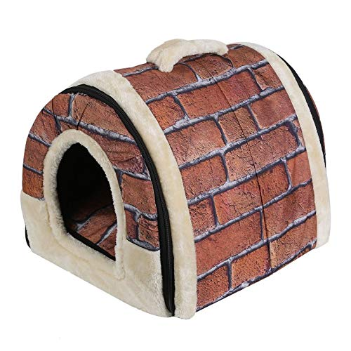 Red Portable Foldable Dog Puppy Cat House Kennel Nest Soft Bed with Mat for Small Medium Pet Comfortable Travel Bed Tent