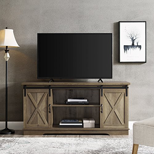 (Home Accent Furnishings New 58 Inch Sliding Barn Door Television Stand - Rustic Oak Finish)