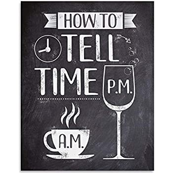 Am Coffee PM Wine Sign Print Kitchen Poster Home Wall Art Decor Coffee /& Wine Art Canvas Painting Wall Picture Decoration-40x50cm-Sin marco
