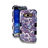 Samsung Galaxy J3 (2016) / J3 V / Amp Prime / Express Prime / Galaxy Sol Case, Kaleidio [TUFF] Shockproof Hybrid Dual Layer Protective Cover [Includes a Overbrawn Prying Tool] [Blue & Purple Paisley]
