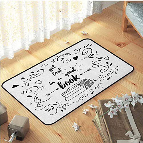 Decorative Floor Mat, Rubber Non Slip Modern Rugs Ultra Soft Indoor Modern Area Rugs | Book Get Lost in a Good Book Printed Quote with Hand Drawn Floral Pattern with Books Arrow Black White W31 x L47 (Arrow Lost Corp)