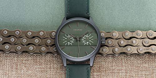Oozoo herrklocka Chrono Look med läderband 48 mm svart/grön C10537