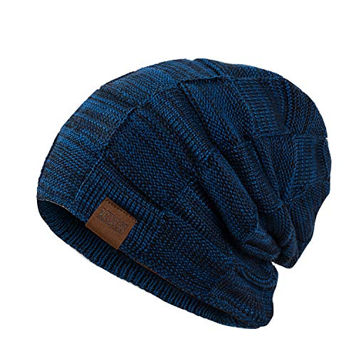 REDESS Beanie Hat for Men and Women Winter Warm Hats Knit Slouchy Thick Skull Cap(Blue)