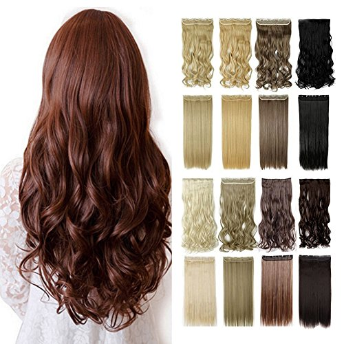 13colors Synthetic Fiber Hairpiece Clips in on Hair Extensio