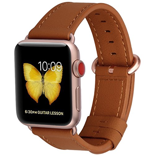 (JSGJMY Compatible for Iwatch Band 38mm 40mm S/M Women Genuine Leather Loop Replacement Strap for iWatch Series 4 (40mm) Series 3 2 1 (38mm),Earth Yellow with Series 4/3 Rose Gold Clasp)