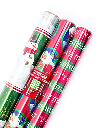 Hallmark Reversible Christmas Wrapping Paper Bundle, Classic Foil (Pack of 3, 60 sq. ft. ttl.)