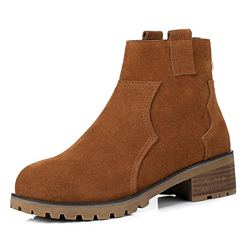 DecoStain Women's Cow Suede Leather Nubuck Low Heel Ankle Leisure Boots Brown ITswoyMwaD
