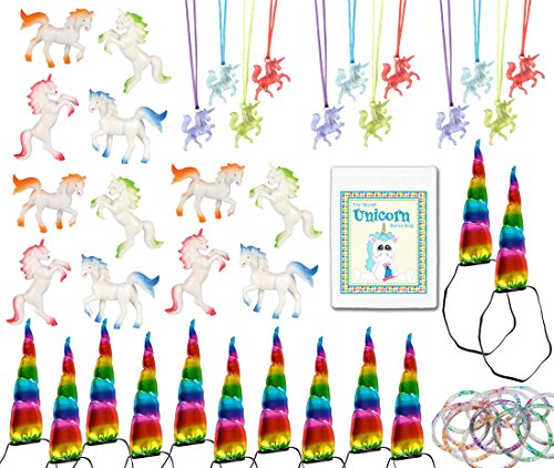 48 Piece Unicorn Theme Birthday Party Favor Bundle Assortment Pack for 12 Kids (12 Unicorn Figures, 12 Necklaces, 12 Glitter Bracelets, 12 Rainbow Headbands)