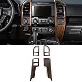Voodonala Wood Grain Inner Accessories Conditioner Central Control Trim Kit Trim for Ford F150 2015 2016 2017