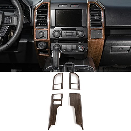 Wood Steering Wheel Kit - Voodonala Wood Grain Inner Accessories Conditioner Central Control Trim Kit Trim for Ford F150 2015 2016 2017