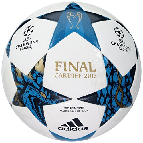 adidas Performance Champion's League Finale Top Training Soccer Ball, White/Mystery Blue/Cyan, Size 4