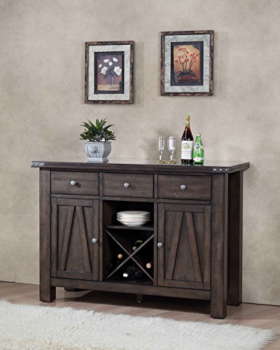 Kings Brand Lynn Brown Wood Wine Rack Sideboard Buffet Server Storage Cabinet with Drawers Shelf Doors